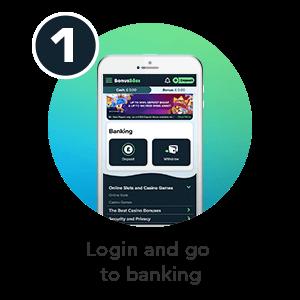Step 1 to deposit by phone bill in Bonus Boss phone casino: Login and go to banking